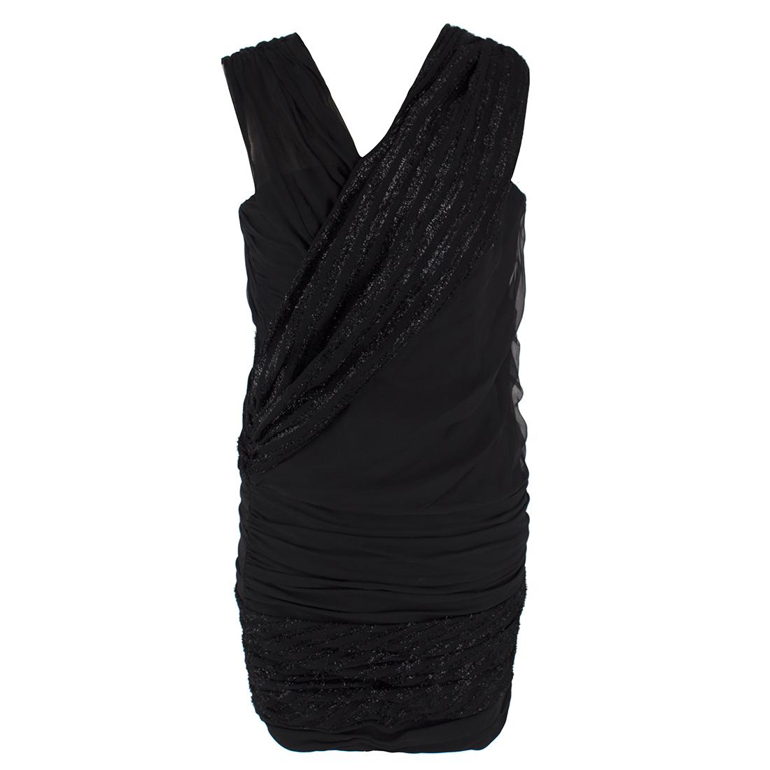 Jay Ahr Black Ruched One-shoulder Mini Dress