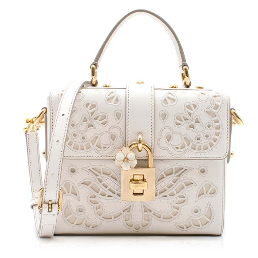 Dolce & Gabbana Lace Padlock Nappa Leather Top Handle Bag