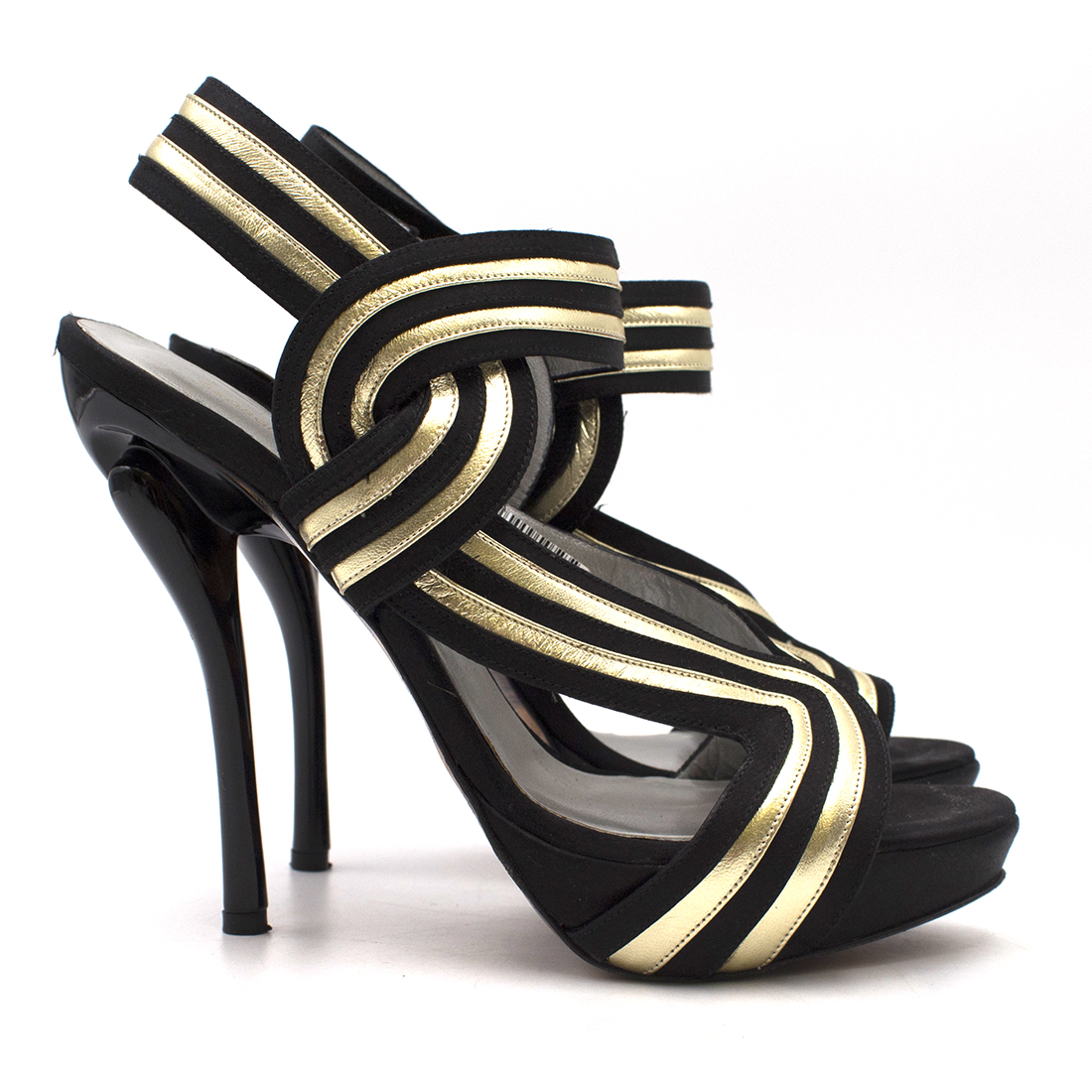 Georgina Goodman Black and Gold Striped Sandals