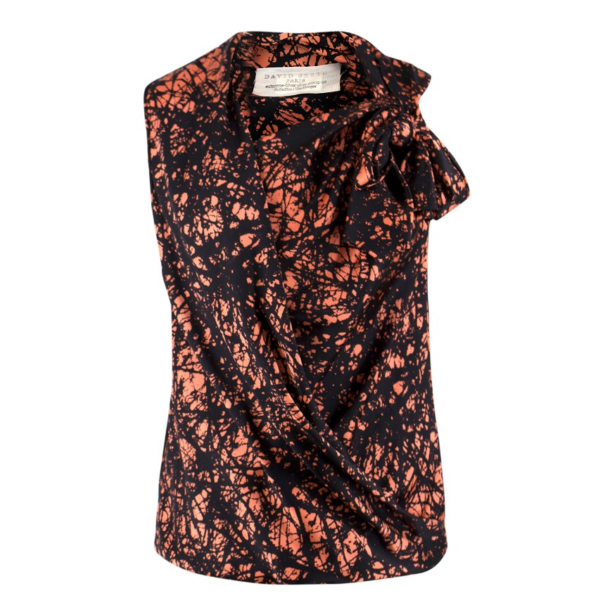 David Szeto Black and Orange Silk Top