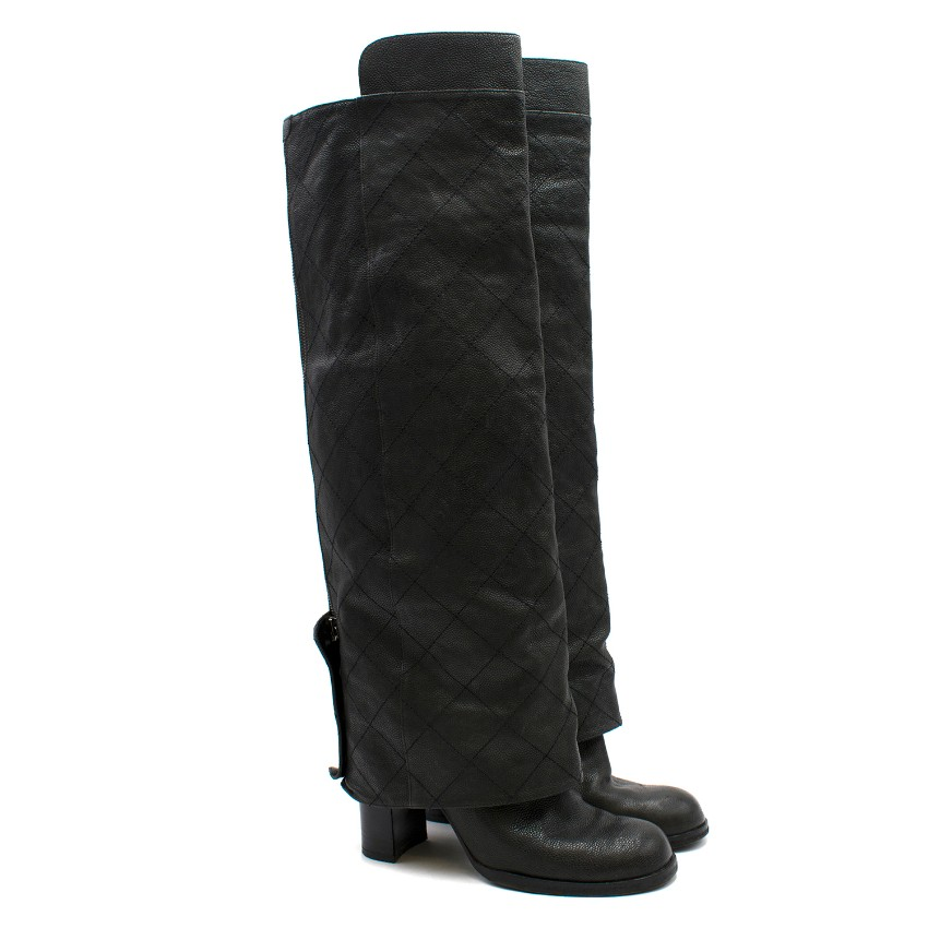 Chanel Knee-high Foldover Leather Heeled Boots