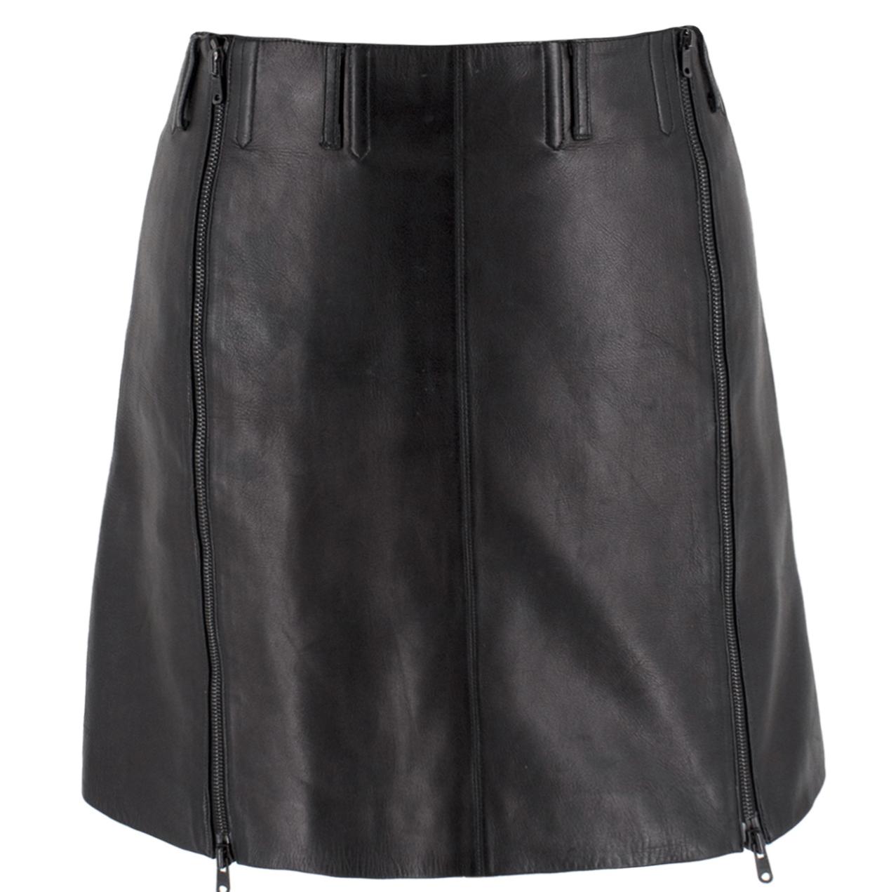 Alaia Black Leather Zipped A-Line Miniskirt