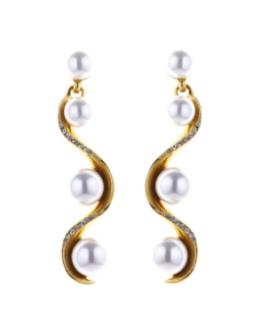 Oscar de la Renta Pav� Wave Pearl Drop Earring
