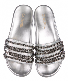 Chanel Holographic Leather Chain-Link Slides