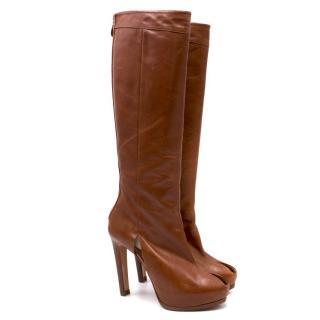 Alessandro Dell'acqua Leather Knee-high Peep-toe Boots