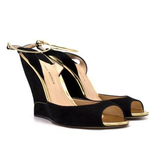 Paul Andrew Delphi Metallic-Trimmed Suede Wedges