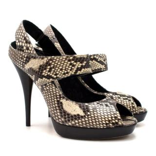 Fendi Snakeskin Platform Peep Toe Sandals