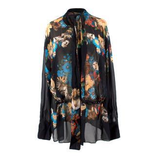 Roberto Cavalli Silk Sheer Floral Blouse