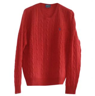Polo Ralph Lauren red cable knit wool-cashmere jumper