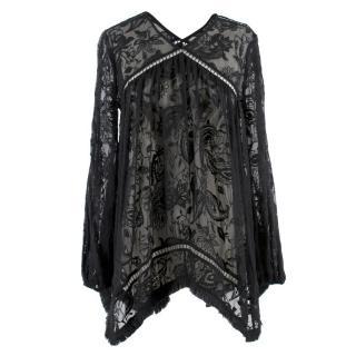 Zimmermann Sheer Black Lace Top