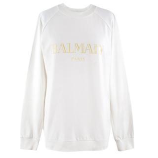 Balmain White Logo Sweatshirt