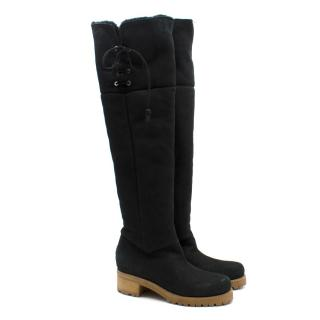 Moncler Over-the-knee Merino & Suede Boots