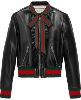 Gucci Black Leather Ruffle Jacket - Current Season