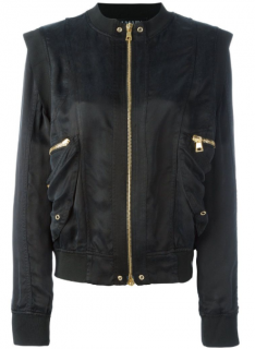 Balmain Black Structured Shoulder Bomber Jacket