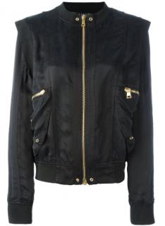 Balmain Black Structured Shoulder Bomber Jacket