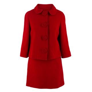 Andrew GN Red Wool Skirt and Jacket Set
