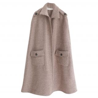 Valentino Boucle Wool Patch Pocket Cape Coat