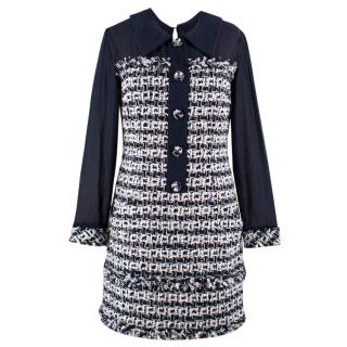 Oscar De La Renta Tweed White and Navy Dress