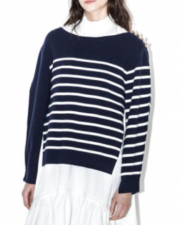 3.1 Phillip Lim Sailor Striped Overlay Wool Sweater