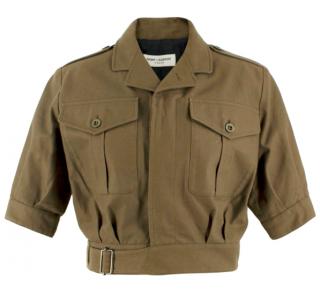 Saint Laurent Khaki Cropped Military Style Jacket