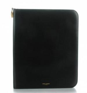 Saint Laurent Black Calfskin Tuc IPad Case
