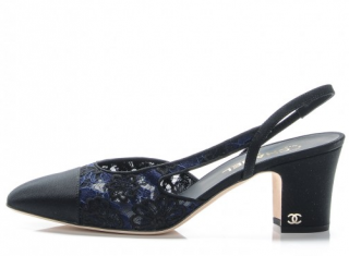 Chanel Lace Grosgrain Cap Toe CC Slingback Pumps