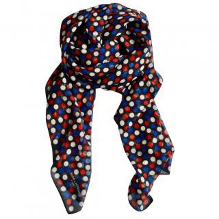 Saint Laurent large cashmere polka dot scarf