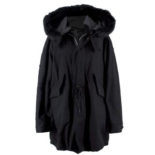 Shipley and Halmos Black Faux Fur Trim Coat