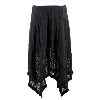 Zimmerman Black Floral Midi Skirt