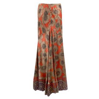 Roberto Cavalli Floral Printed Silk Fluted Maxi Skirt