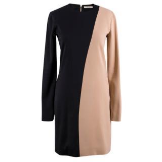 Celine Nude and Black Colour Block Mini Dress