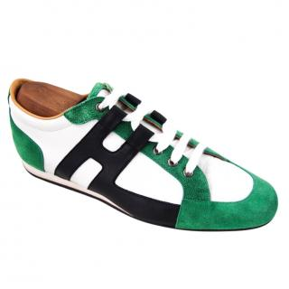 Hermes leather & suede sneakers