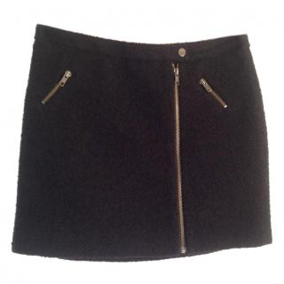 Joie dark navy blue wool blend textured zip fronted mini skirt