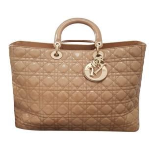 Dior Lady Dior large beige patent bag