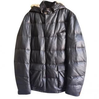 Loro Piana Men's deer leather cashmere-lined down jacket