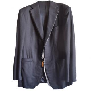 Zilli cashmere leather collar suit