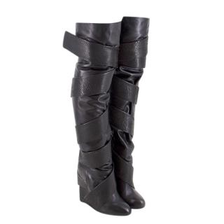 Chrissie Morris Over-the-knee Snakeskin & Stingray Leather Boots