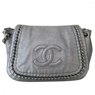 Chanel Luxe Ligne Metallic Silver Flap Bag