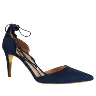 Rupert Sanderson Blue Suede Mid Heel Lace Up Shoes