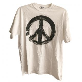 Moschino White Peace Sign T-shirt