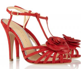 Charlotte Olympia 'Rosa' rose-appliqu�d leather sandals