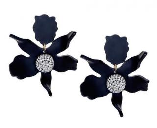 Lele Sadoughi Black Crystal Lilly Flower Clip Earrings