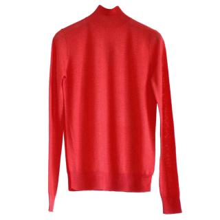 Joseph red cashmere high neck jumper
