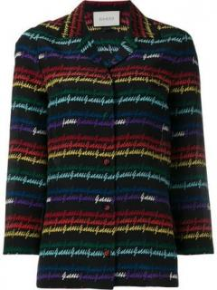 Gucci Black Rainbow Printed Silk Pyjama Blouse