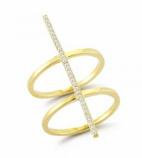 Mateo Diamond Uni Bar Double Gold Ring 14ct Gold