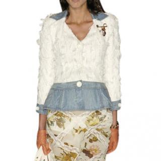 Dior Denim and White Knit Jacket