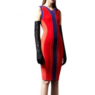 Antonio Berardi Red Colourblock Panel Pencil Dress