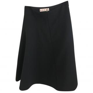 Marni black wool midi skirt