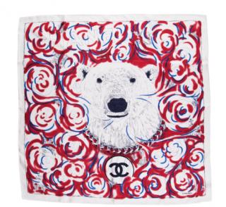 Chanel Polar Bear Silk Scarf