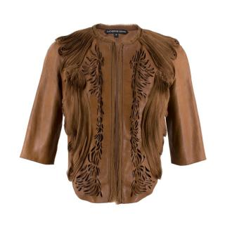 Catherine Deane Lasercut Ruffled Brown Leather Jacket